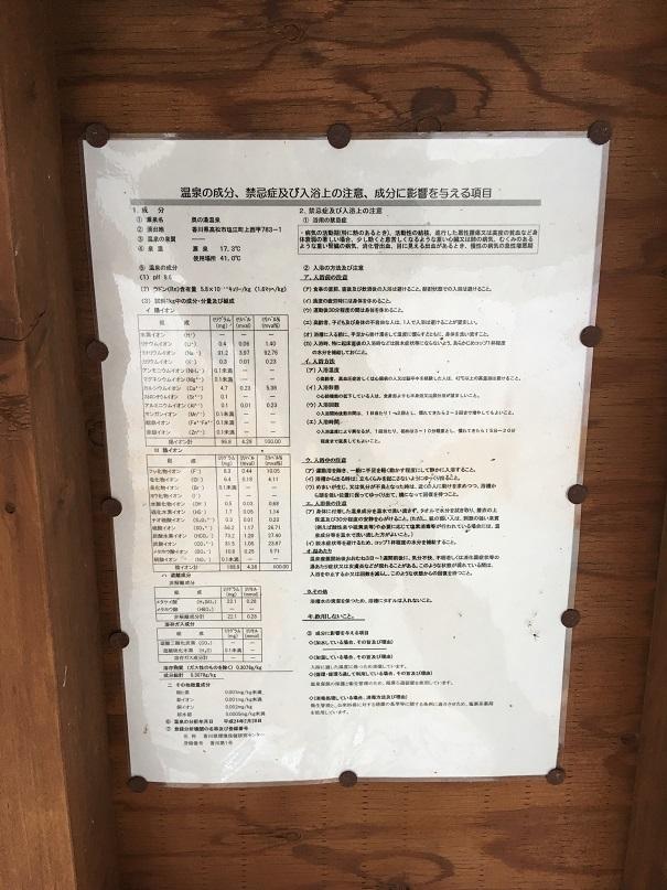 行基の湯の足湯の温泉の成分、禁忌症及び入浴上の注意、成分に影響を与える項目の張り紙