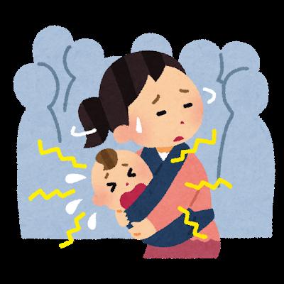 人込みで泣く赤ちゃんを抱っこして周りを伺う母のイラスト