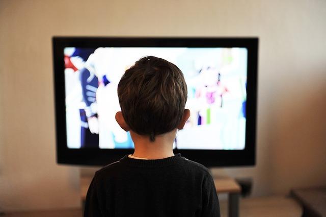 男の子がテレビを観ている