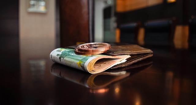 財布にお金がはさまれている