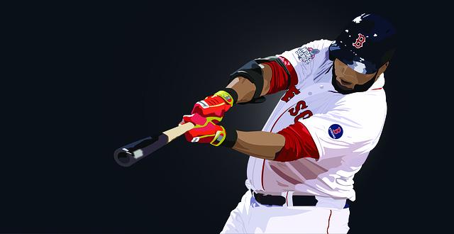 野球選手がバットを振っているイラスト