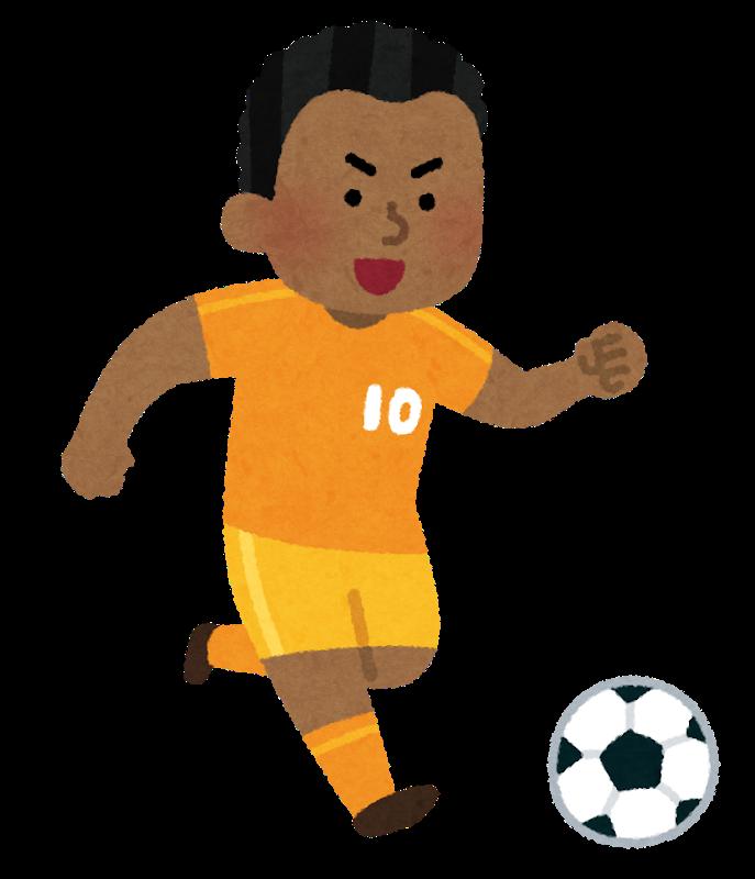 黒人選手がサッカーをプレーしているイラスト