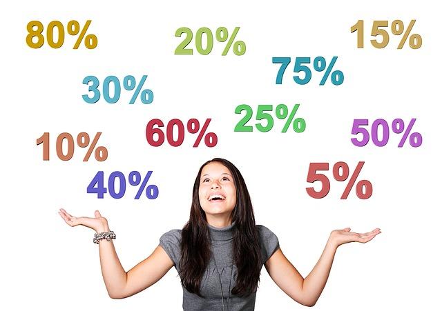 女性が両手を広げており、20%.25%.30%などの数字が降ってきている
