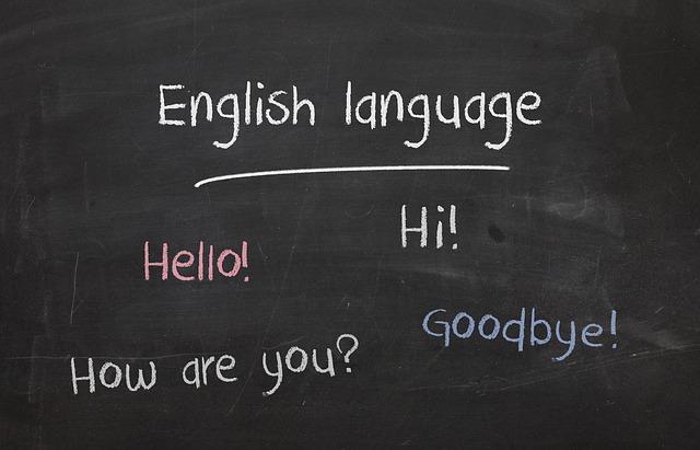 英単語が黒板に書かれている