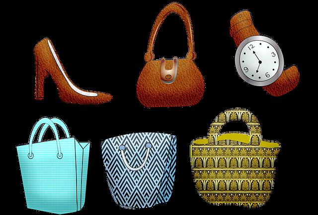 バッグや靴、時計のイラスト