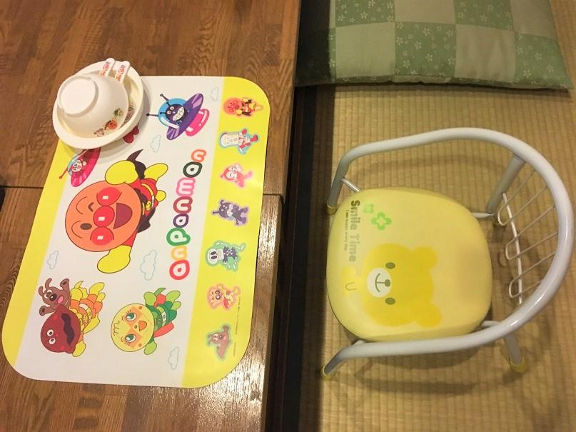 絶景の宿さくら亭の子供用食事セット(ランチマット、取り分け皿、スプーン、豆椅子)