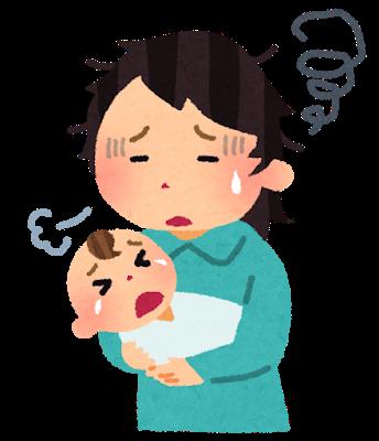 赤ちゃんのお世話で育児ノイローゼになっている母のイラスト