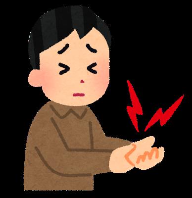 手首の関節痛に苦しむイラスト