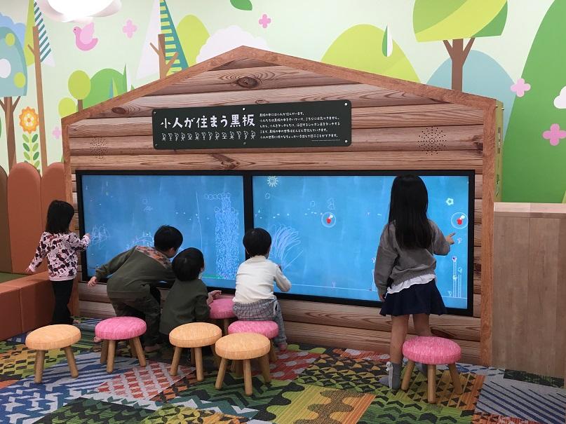 タッチパネルのゲーム、子供たち5人がタッチして遊んでいる