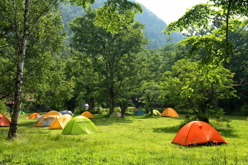 芝生に色とりどりのテントが並んでいる