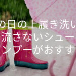 雨の日の 上履き洗いは 洗い流さないシューズシャンプーがおすすめ