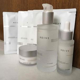 KOIVEスキンケア商品の写真(洗顔クリーム、化粧水、クリーム、美容液、パック)