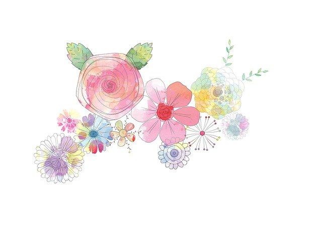 パステルカラーで書かれた花のイラスト